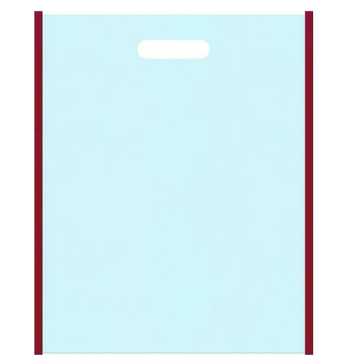 和風柄にお奨めの不織布バッグ小判抜き配色デザイン:メインカラー水色とサブカラーエンジ色。振袖風