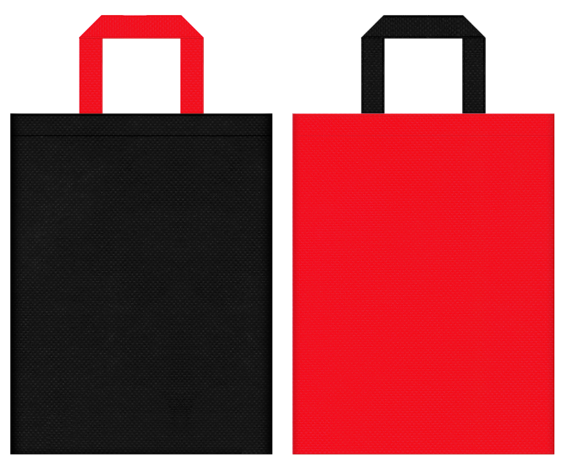 不織布バッグの印刷ロゴ背景レイヤー用デザイン:黒色と赤色のコーディネート:スポーティーファッションの販促イベントにお奨めです。