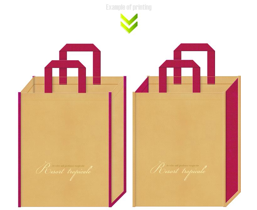ビーチリゾート用品の展示会用不織布バッグのデザイン例