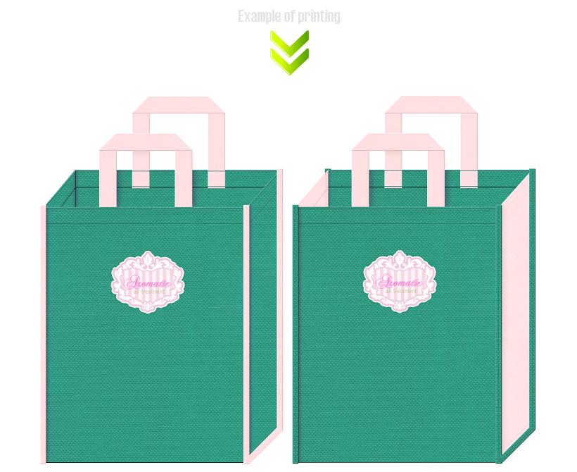 青緑色と桜色の不織布バッグのデザイン:石鹸・洗剤・家庭用品の展示会用バッグにお奨めです。