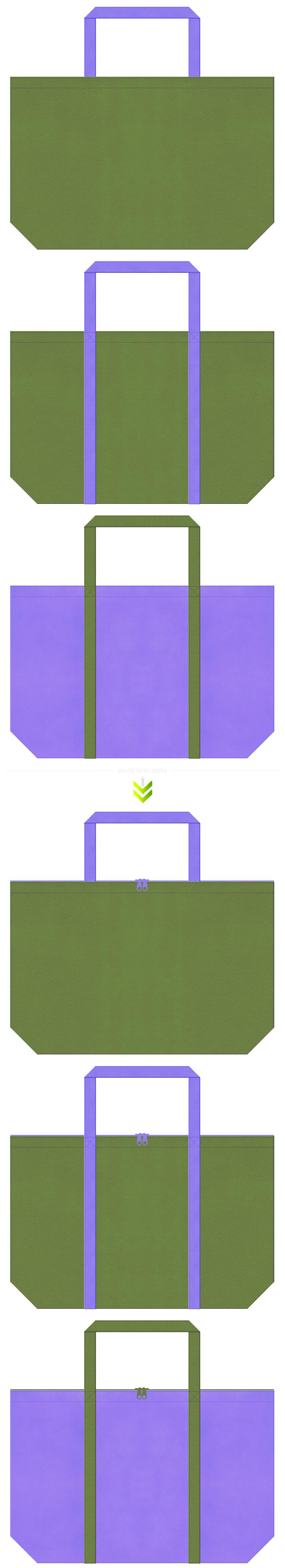 草色と薄紫色の不織布バッグデザイン。花菖蒲風の配色で、生け花教室のエコバッグにお奨めです。