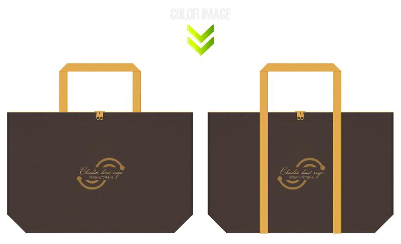 不織布バッグのデザイン:チョコドーナツ・スイーツのショッピングバッグ