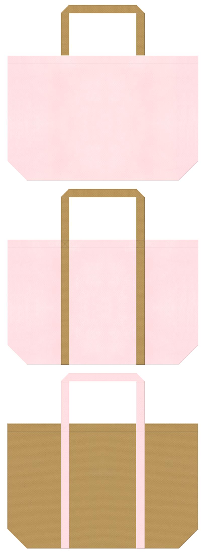 ペットショップ・ペットサロン・ペット用品・ペットフード・アニマルケア・絵本・おとぎ話・子鹿・子犬・ガーリーデザインにお奨めの不織布バッグデザイン:桜色と金黄土色のコーデ