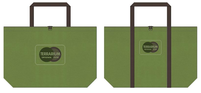 草色とこげ茶色の不織布バッグデザイン:観葉植物のショッピングバッグ
