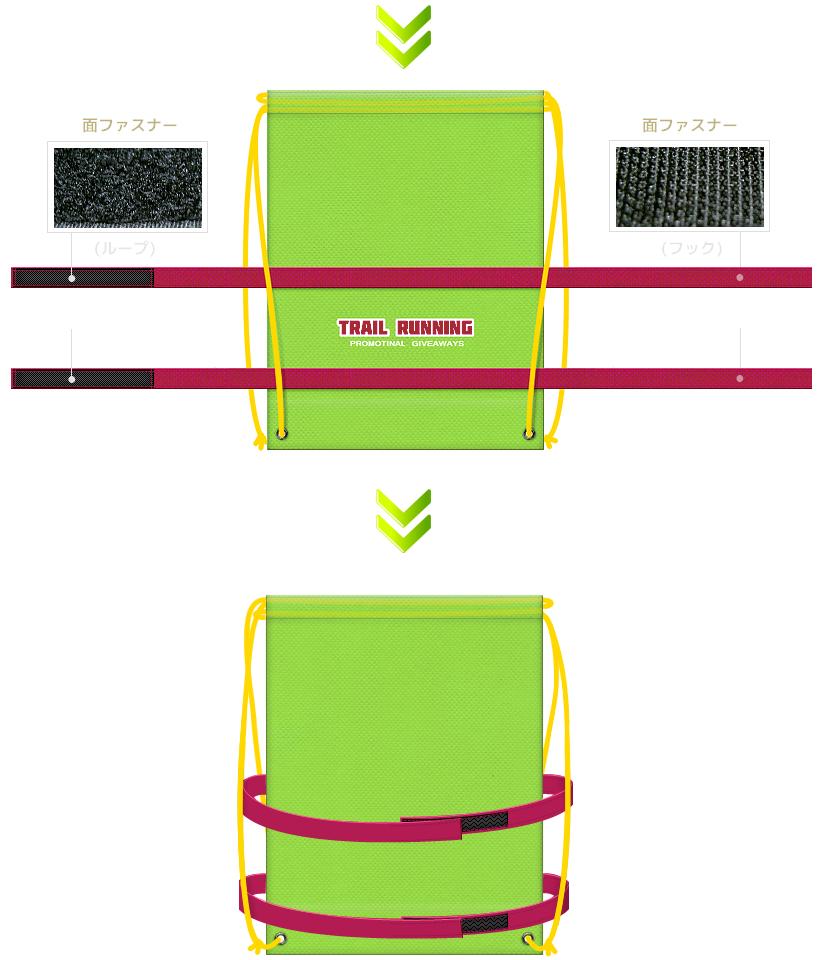 ボディー巻き付きの不織布リュックサック:トレイルランニング・ロードレース等、アウトドアイベントのノベルティにお奨めです。