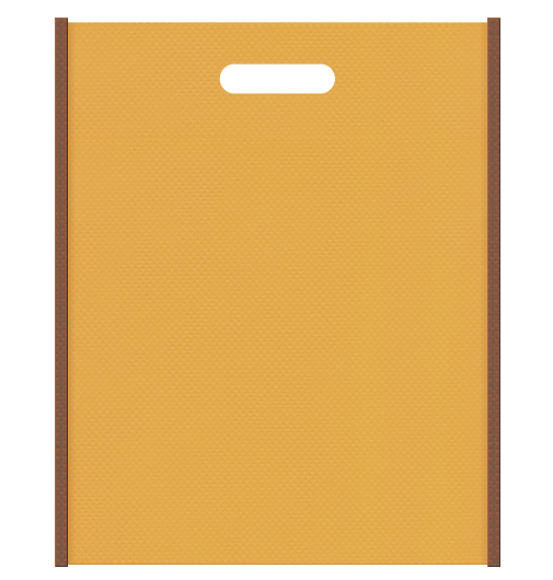 セミナー資料配布用のバッグにお奨めの不織布小判抜き袋デザイン:メインカラー黄土色、サブカラー茶色