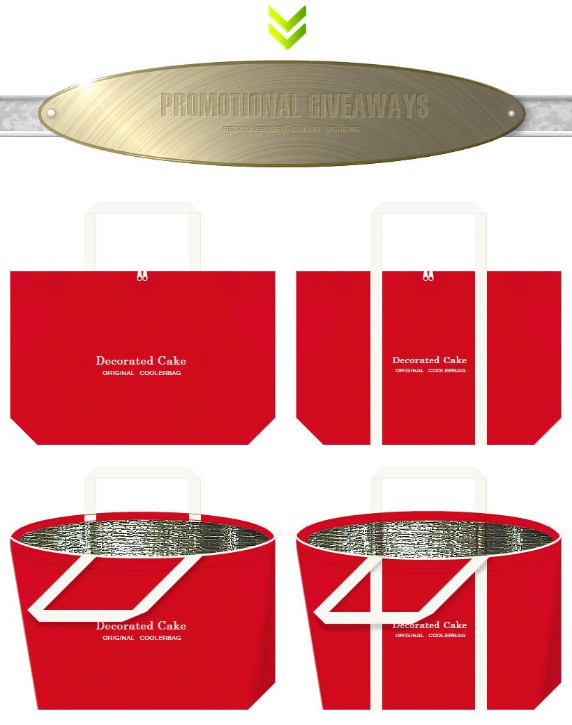 紅色とオフホワイトの不織布バッグデザイン:ケーキの販促ノベルティバッグ