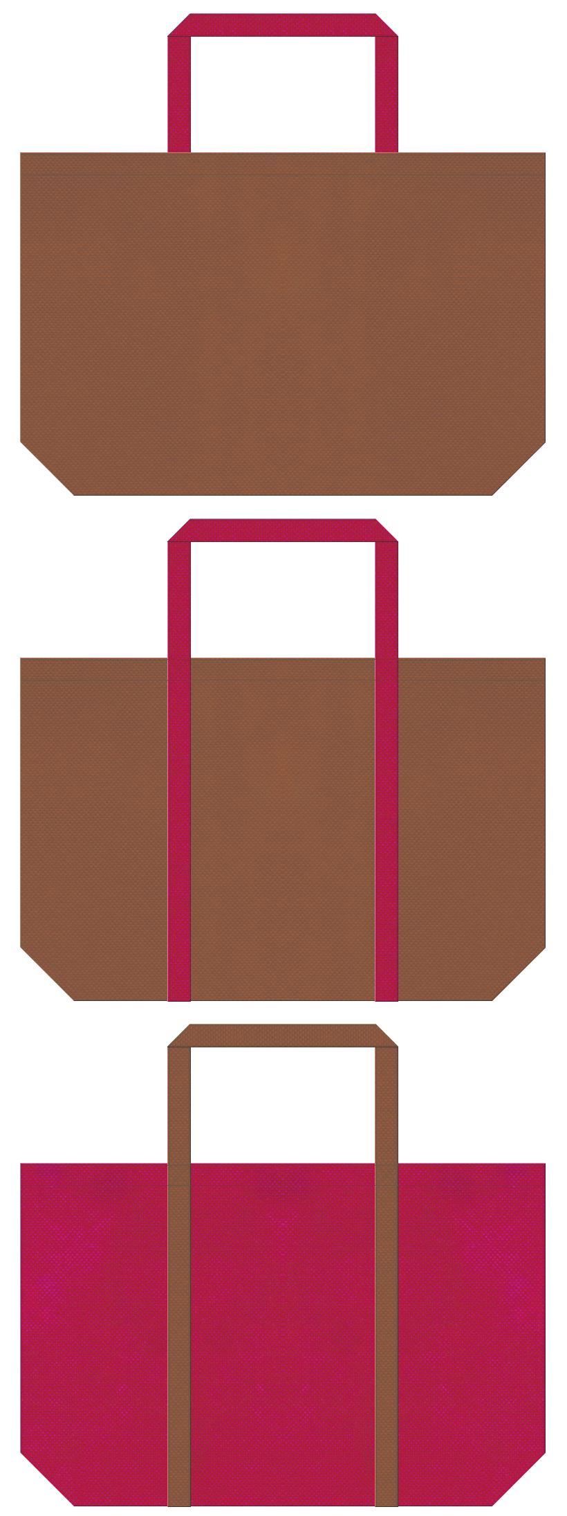 ハワイアン・アロハシャツ・水着・南国・トロピカル・フルーツ・カクテル・トラベルバッグ・リゾートのショッピングバッグお奨めの不織布バッグデザイン:茶色と濃いピンク色のコーデ