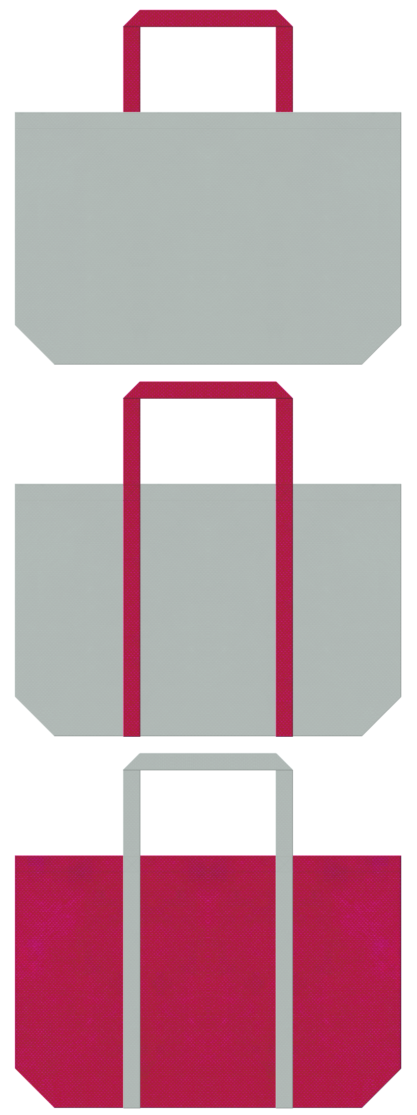 グレー色と濃いピンク色の不織布エコバッグのデザイン。ロボット・ラジコン・ホビーのイメージにお奨めの配色です。