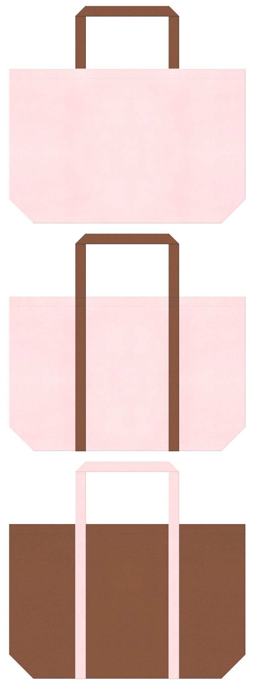 ペットショップ・ペットサロン・ペット用品・ペットフード・アニマルケア・絵本・おとぎ話・ポニー・ベアー・子犬・手芸・ぬいぐるみ・いちごチョコ・ガーリーデザインにお奨めの不織布バッグデザイン:桜色と茶色のコーデ