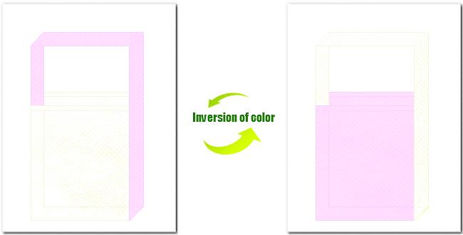 オフホワイト色と明ピンク色の不織布ショルダーバッグのデザイン:ガーリーデザインにお奨めの配色です。