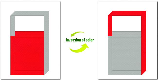 赤色とグレー色の不織布ショルダーバッグ