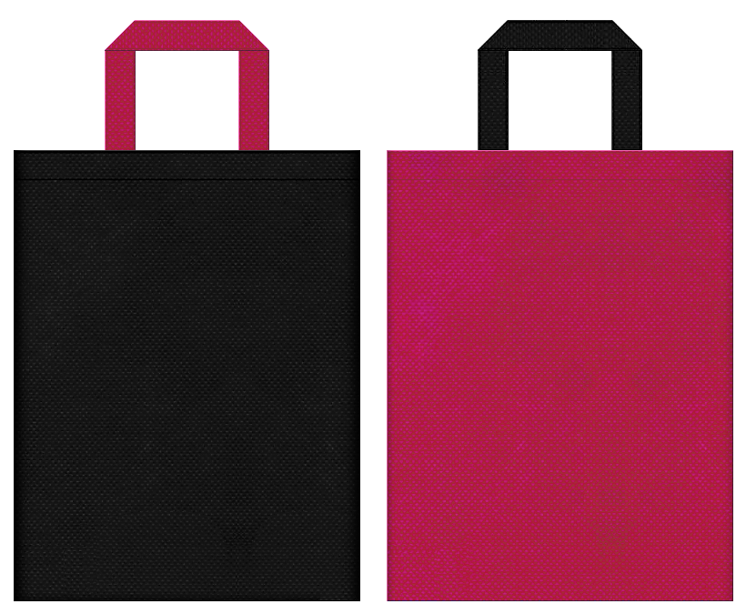 コスメ・香水・ネイル・ハイヒール・ブーツ・魔法使い・ジョーカー・占い・ウィッグ・コスプレイベントにお奨めの不織布バッグデザイン:黒色と濃いピンク色のコーディネート