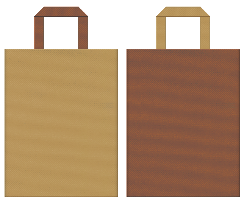 不織布バッグの印刷ロゴ背景レイヤー用デザイン:金色系黄土色と茶色のコーディネート:珈琲ロールのイメージでベーカリショップの販促イベントにお奨めです。