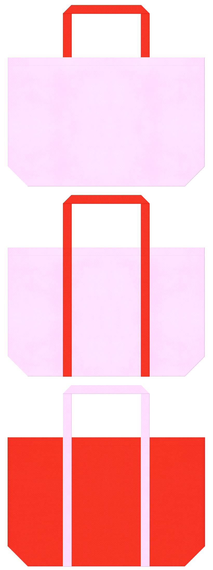 明るいピンク色とオレンジ色の不織布ショッピングバッグデザイン