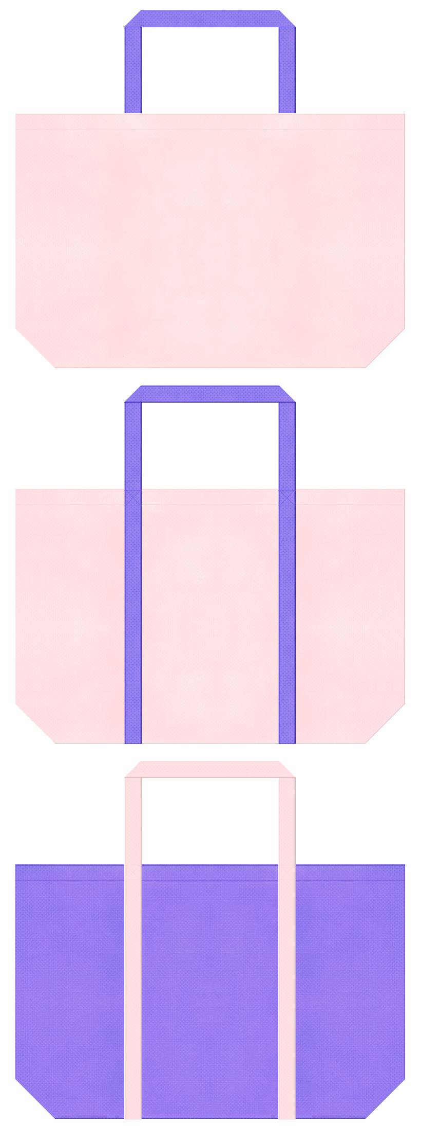桜色と薄紫色の不織布ショッピングバッグデザイン。福祉・介護用品の包装にお奨めの配色です。