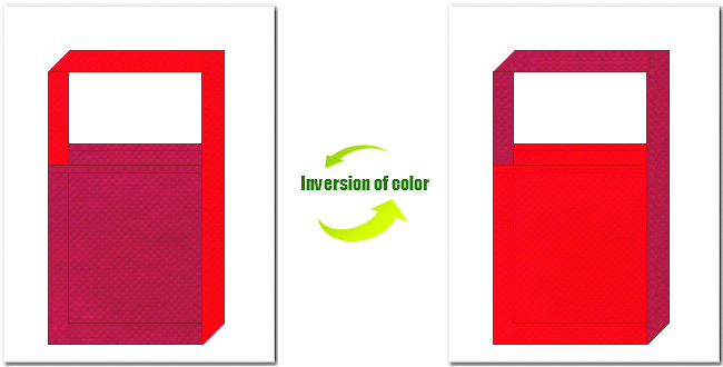 濃ピンク色と赤色の不織布ショルダーバッグ
