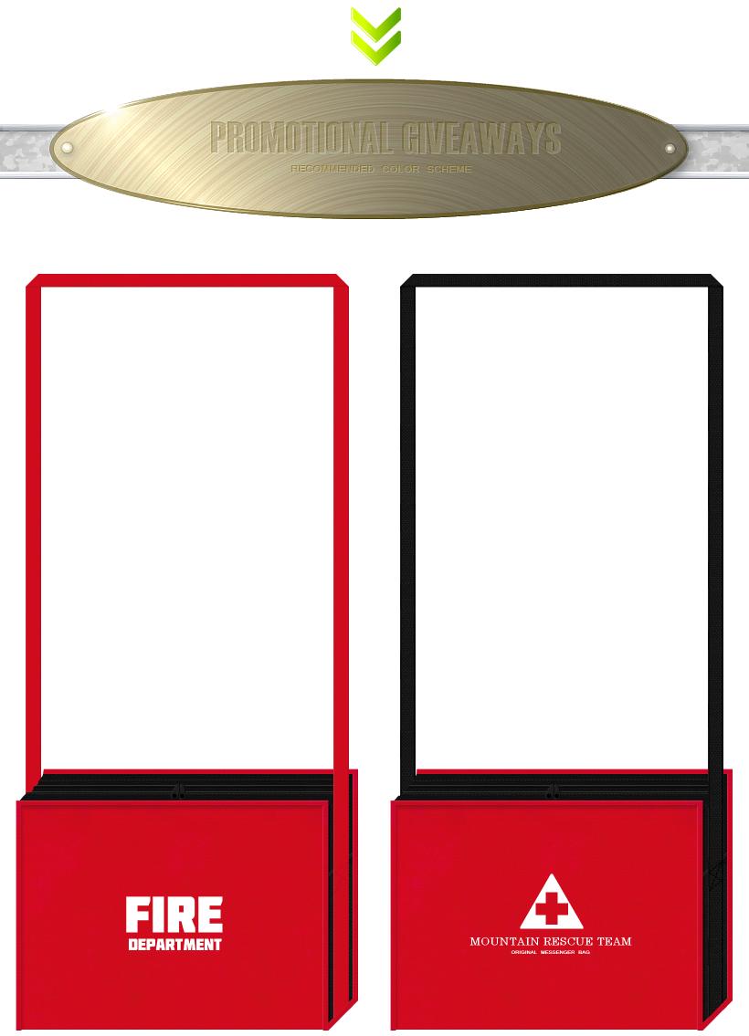 紅色と黒色の不織布バッグデザイン:消防団・レスキューチーム・救急用品のバッグ