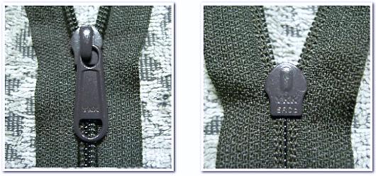 不織布バッグ制作に使用可能なパーツ:YKKファスナー5RC-DFLの写真(左:表側 右:裏側)