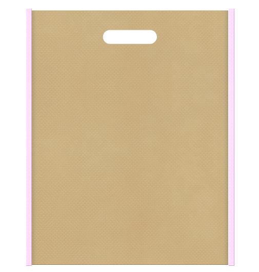 不織布小判抜き袋 メイン色カーキ色、サブカラー明るめのピンク色