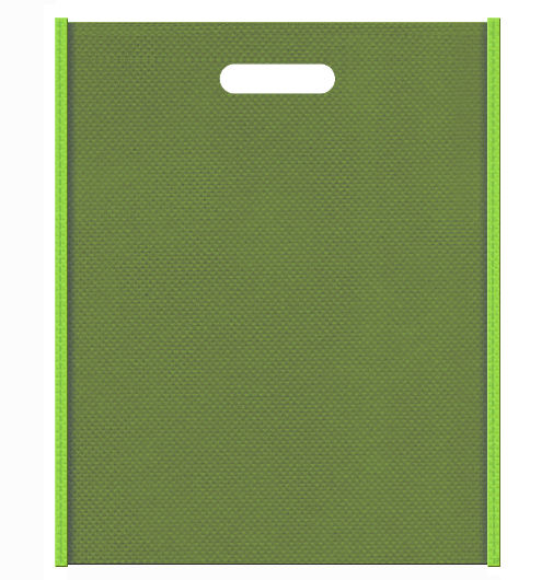 不織布バッグ小判抜き メインカラー黄緑色とサブカラー草色の色反転