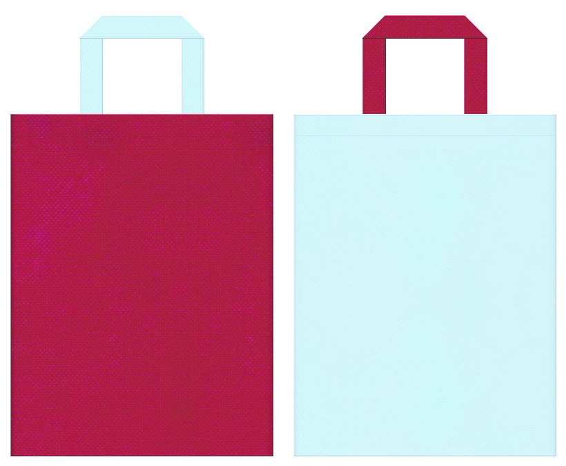 風鈴・ビー玉・ガラス細工・夏祭り・サマーイベント・おとぎ話・人魚・キッズイベント・女子イベントにお奨めの不織布バッグデザイン:濃いピンク色と水色のコーディネート