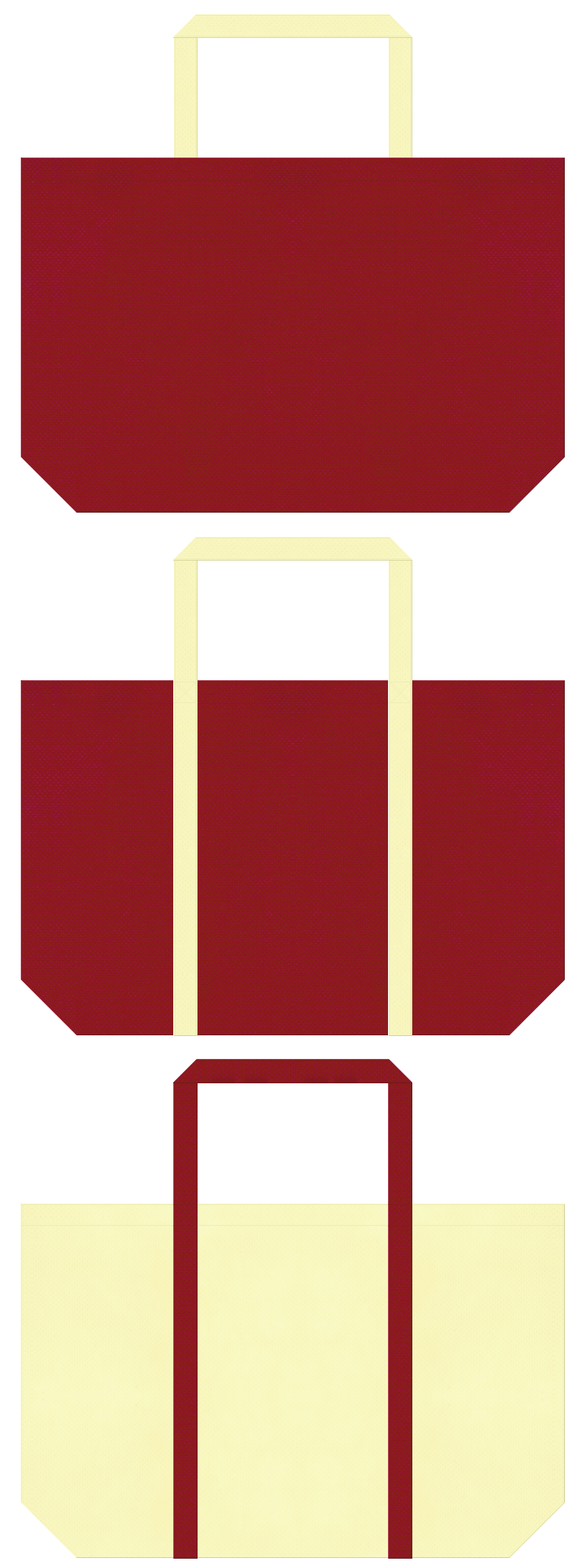 絵本・むかし話・お月見・ひな祭り・和風催事にお奨め:エンジ色と薄黄色の不織布ショッピングバッグのデザイン