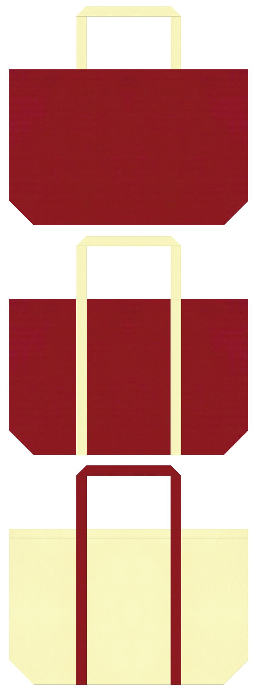 絵本・むかし話・お月見・ひな祭りのショッピングバッグにお奨め:エンジ色と薄黄色の不織布ショッピングバッグのデザイン