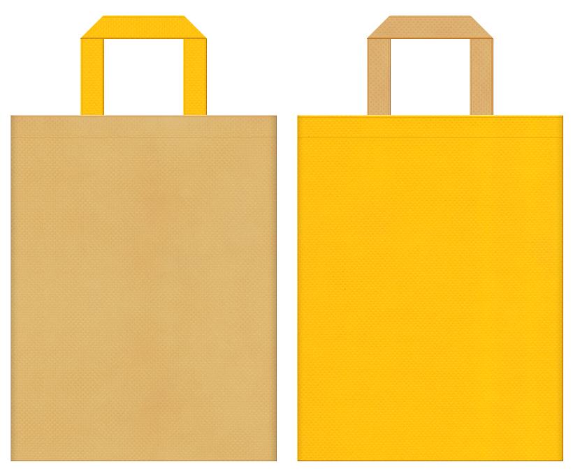 バター・マロンケーキ・はちみつ・栗・スイーツ・ベーカリー・和菓子のショッピングバッグにお奨めの不織布バッグデザイン:薄黄土色と黄色のコーディネート