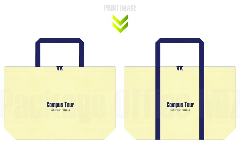 不織布バッグのデザイン:オープンキャンパス向け