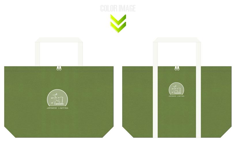 草色とオフホワイト色の不織布バッグデザイン:和モダンな和風エコバッグ