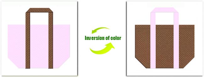 不織布No.37ライトパープルと不織布No.7コーヒーブラウンの組み合わせのショッピングバッグ