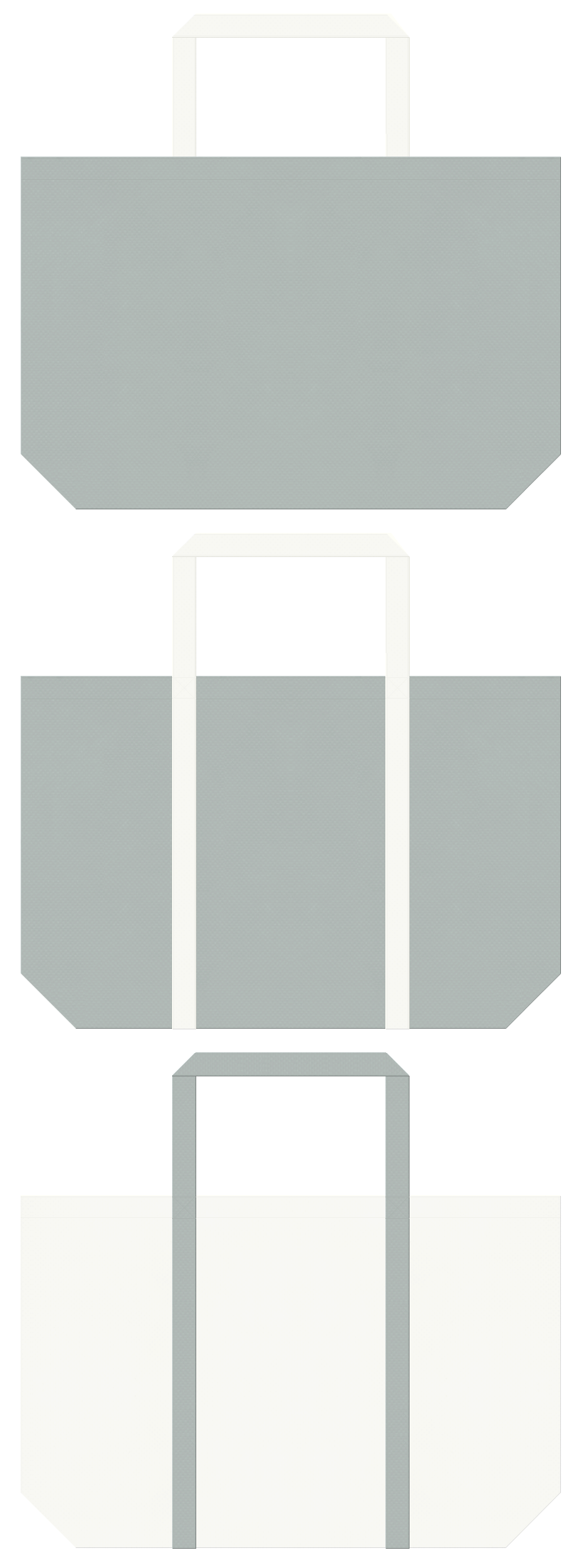 什器、設計、オフィス用品のバッグノベルティにお奨めのコーデ。グレー色とオフホワイト色の不織布エコバッグのデザイン。コアラ風の配色です。