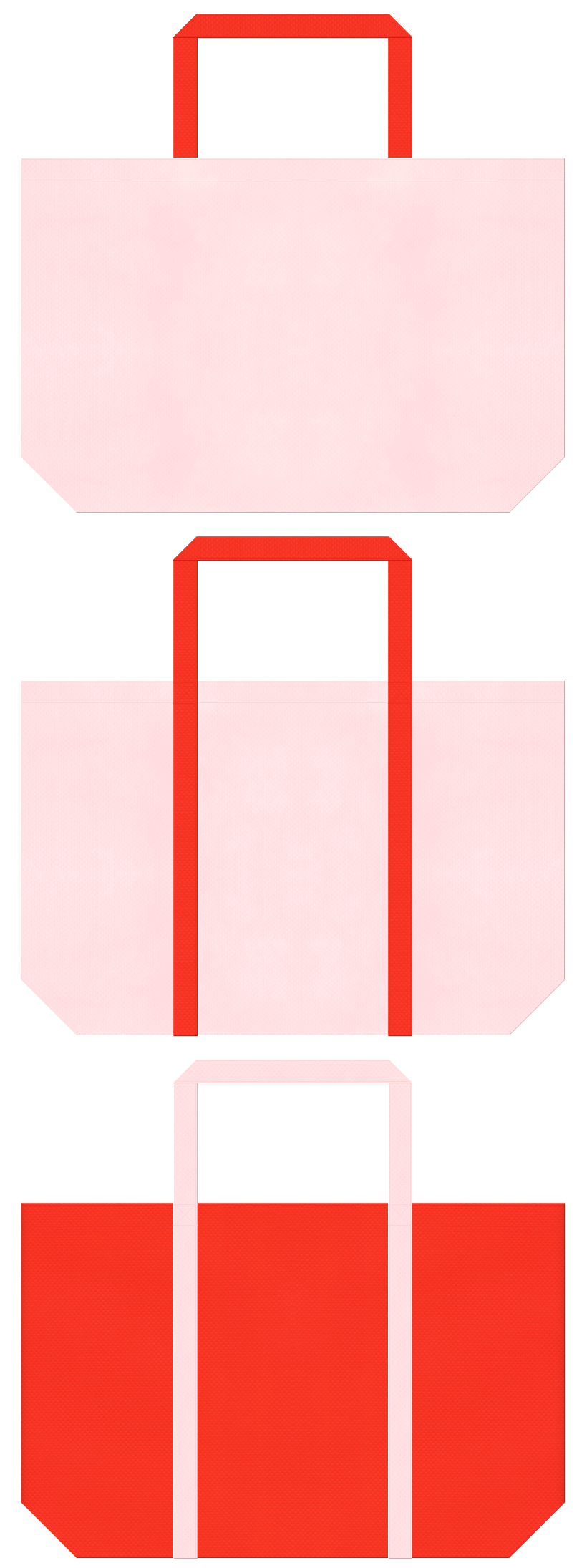 桜色とオレンジ色の不織布ショッピングバッグデザイン。