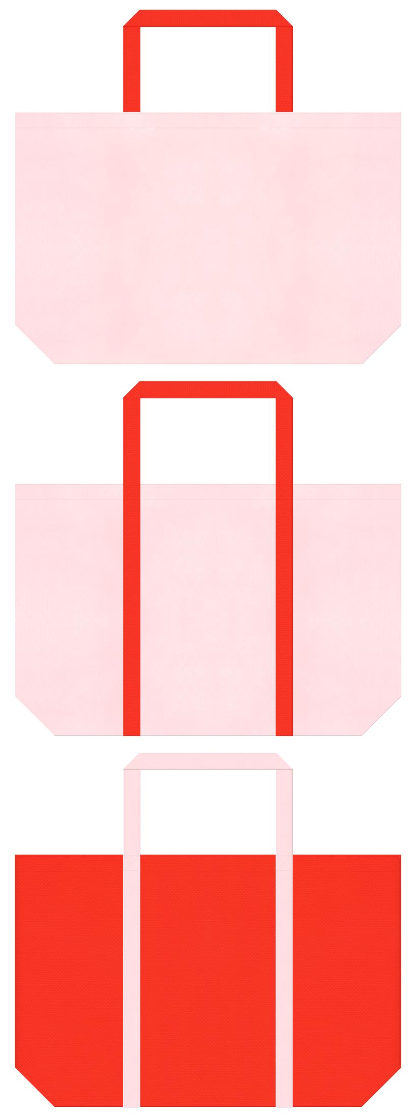 桜色とオレンジ色の不織布バッグデザイン