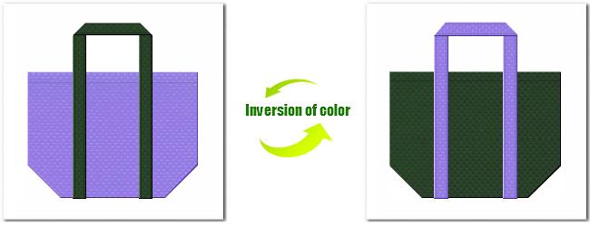 不織布No.32ミディアムパープルと不織布No.27ダークグリーンの組み合わせのショッピングバッグ