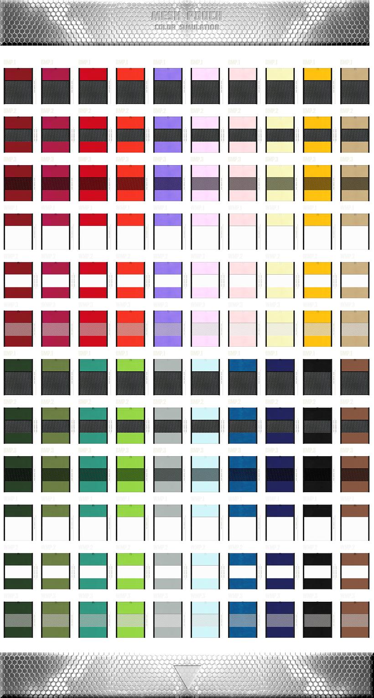 メッシュポーチのカラーシミュレーション:黒色・白色メッシュと不織布の組み合わせができます。