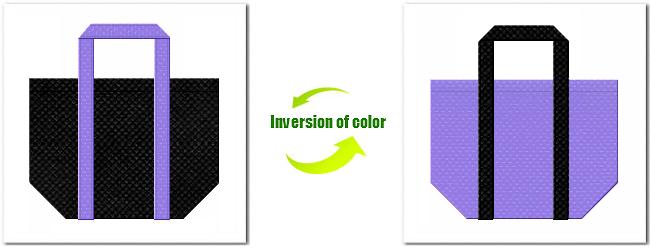 不織布No.9ブラックと不織布No.32ミディアムパープルの組み合わせの不織布バッグ