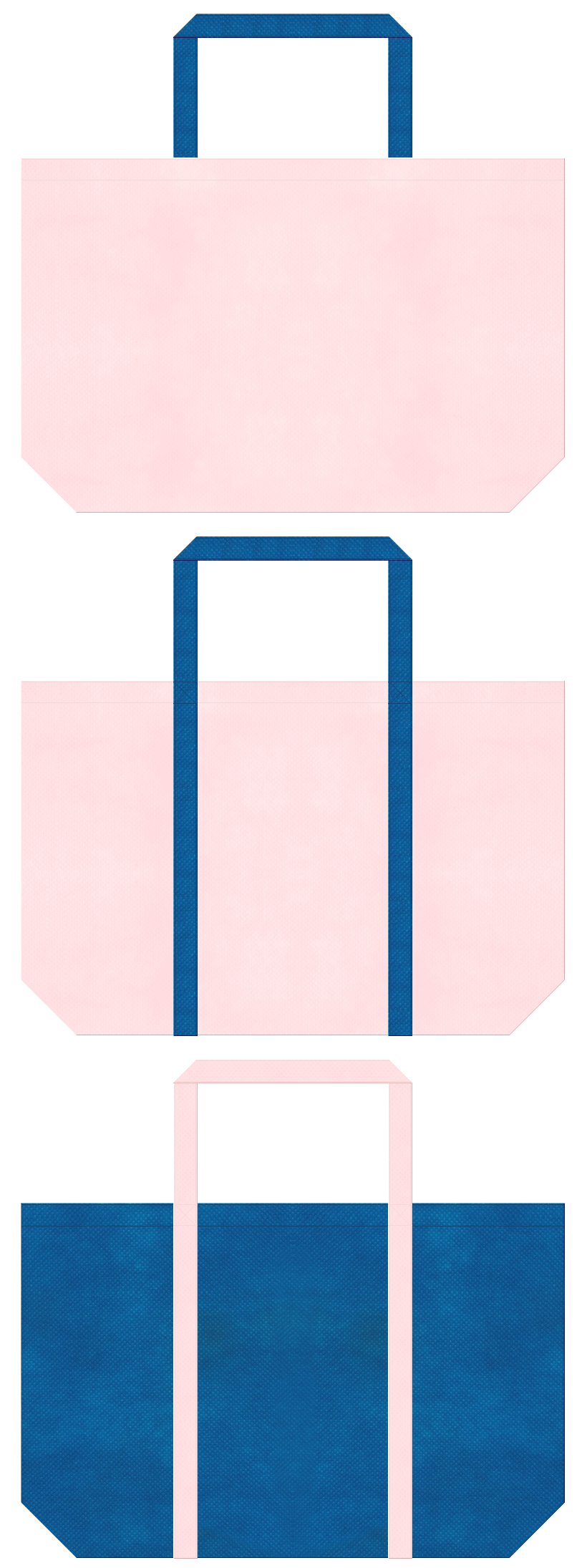 桜色と青色の不織布ショッピングバッグデザイン。