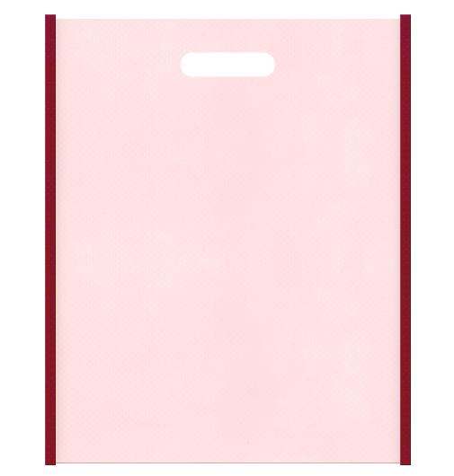和風柄にお奨めです。不織布小判抜き袋:メインカラー桜色とサブカラーエンジ色