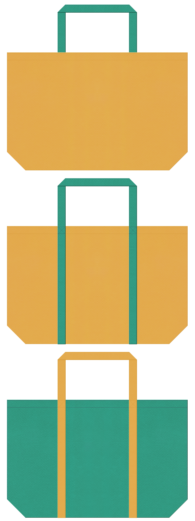 酪農・牧場・農業・種苗・肥料・野菜・産直市場のショッピングバッグにお奨めの不織布バッグデザイン:黄土色と青緑色のコーデ
