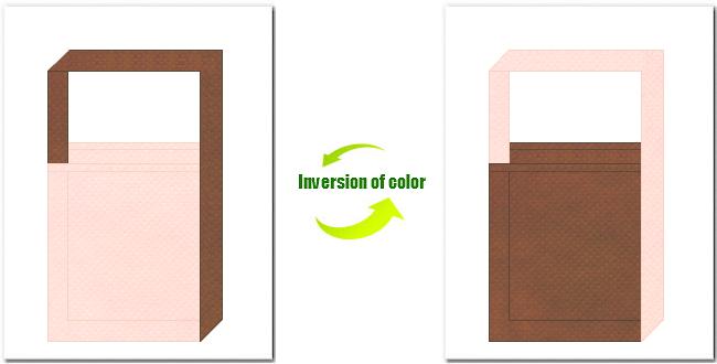 桜色と茶色の不織布ショルダーバッグのデザイン