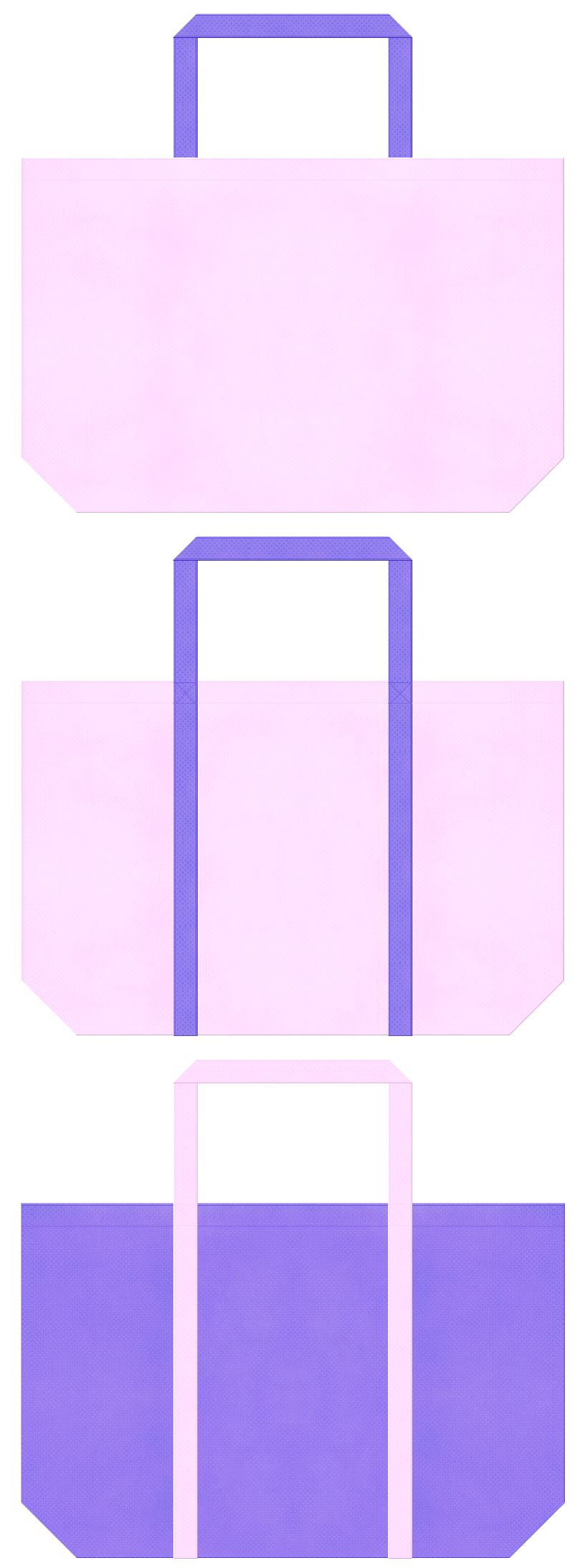 明るいピンク色と薄紫色の不織布バッグデザイン。ガーリーファッションのショッピングバッグにお奨めです。