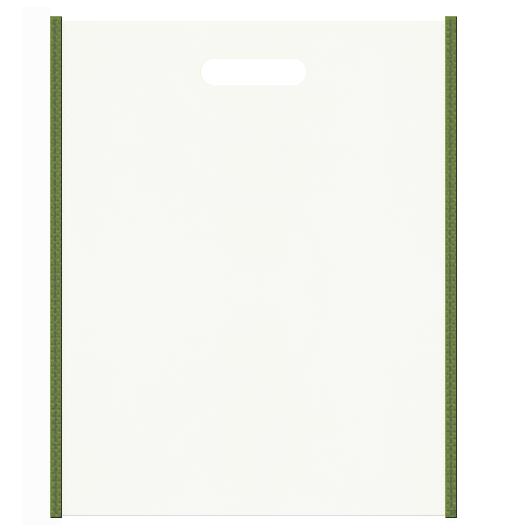 セミナー資料配布用のバッグにお奨めの不織布小判抜き袋デザイン:メインカラーオフホワイト色、サブカラー草色