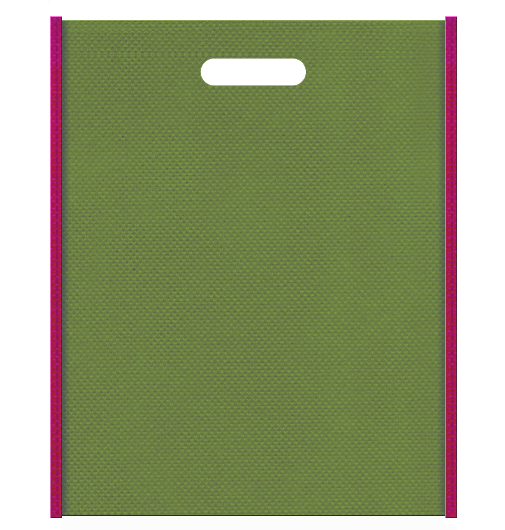 メジロと梅風の不織布バッグ小判抜き配色デザイン:メインカラー草色とサブカラー濃いピンク色