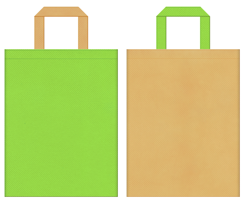 不織布バッグの印刷ロゴ背景レイヤー用デザイン:黄緑色と薄黄土色のコーディネート:牧場のイベント・牧場ゲームの販促イベントにお奨めの配色です。