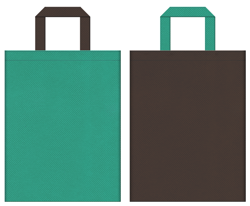 不織布バッグの印刷ロゴ背景レイヤー用デザイン:青緑色とこげ茶色のコーディネート:緑化推進イベントや屋上緑化のイベントにお奨めの配色です。