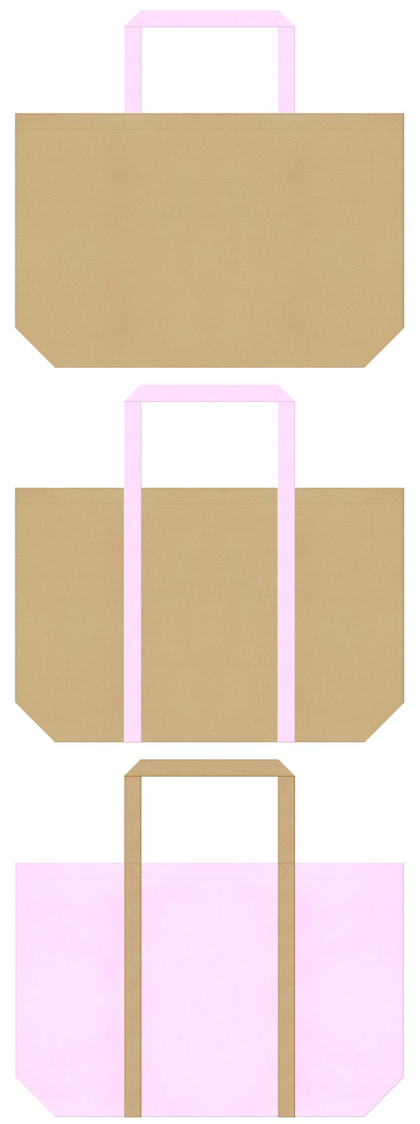 ペットショップ・ペットサロン・アニマルケア・小鹿・子犬・くま・ぬいぐるみ・手芸・絵本・おとぎ話・ガーリーデザインのショッピングバッグにお奨めの不織布バッグデザイン:カーキ色と明るいピンク色のコーデ