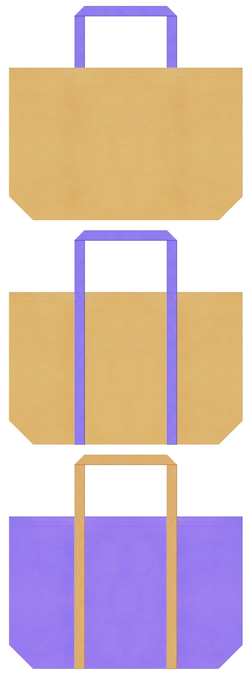 薄黄土色と薄黄土色の不織布ショッピングバッグデザイン。