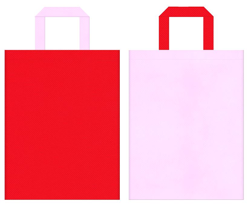 ひな祭り・いちご・カーネーション・母の日にお奨めの不織布バッグデザイン:赤色と明るいピンク色のコーディネート